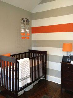 Baby nursery mobile grey and Orange Nursery by katemaedesigns Chic Nursery, Nursery Room, Boy Room, Kids Bedroom, Nursery Decor, Baby Bedroom, Nursery Ideas, Kids Rooms, Bedroom Decor