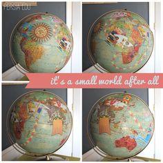 Persia Lou: Small World Decoupage Globe (Vintage Disneyland Room)