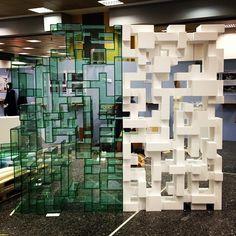 tetris bookshelf designed by Eleftherios Ambatzis in corian and perspex