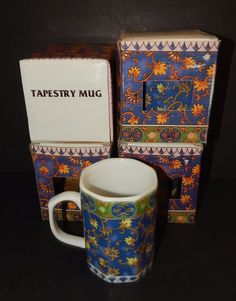 4 Porcelain TAPESTRY Pattern OCTAGON Tea  COFFEE MUGS CUPS Blue and Gold in BOX