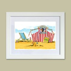 Paintings from the Fylde Coast, from Seaside Emporium Sitting Cross Legged, Punch And Judy, Deck Chairs, Watercolour Painting, Painting Frames, Seaside, The Past, Coast, Childhood