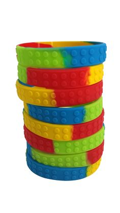 Brick Textured Wristbands for Lego Fans (Set of 8) - One Size Fits Most - Silicone Bracelets