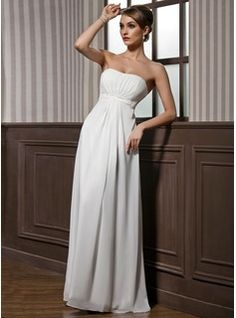 Dama de honor - $133.99 - Corte imperial Estrapless Vestido Chifón Charmeuse Dama de honor con Volantes Abalorios  http://www.dressfirst.es/Corte-Imperial-Estrapless-Vestido-Chifon-Charmeuse-Dama-De-Honor-Con-Volantes-Abalorios-007001846-g1846