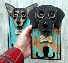 Dog leash holder, customized for you pet.. Cute and practical, this leash holder combination measures approximately 8 x 6, All the wood is recycled or culled to create a functional piece of art. On the back is a heavy duty key hook to assure proper hanging with bumpers to protect your wall. Each piece is hand cut and painted. What I need from you is a couple of good frontal head shots of your fur baby. Convo me with any questions. Custom holders take between a week and 10 days to make.