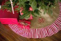 Stripe Burlap Christmas Tree Skirt Monogrammed   The Preppy Pair