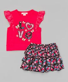 Another great find on #zulily! Pink 'Love' Lace Top & Floral Skirt - Toddler & Girls #zulilyfinds
