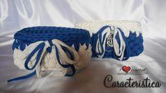 Coppia cestini fettuccia bicolore bianco e azzurro by I love crochet di Caracteristica