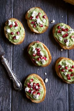 Whipped feta & avocado crostini on garlic toasted bread then topped with pomegranate seeds. An easy, festive appetizer with simple, delicious ingredients. New Year's Eve Appetizers, Appetizer Recipes, Pomegranate Recipes Appetizer, Antipasto, Tostadas, Milk Recipes, Vegetarian Recipes, Vegetarian Appetizers, Clean Eating Snacks