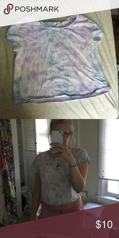 Purple And Blue Tie Dye Crop Top Unknown brand Forever 21 Tops Crop Tops