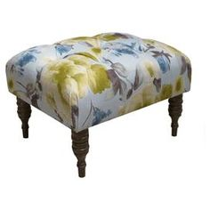 "Ottoman with tufted floral upholstery.Product: OttomanConstruction Material: Solid pine, polyurethane and polyester fill foamColor: Rosie limeFeatures: Handmade in the USADimensions: 16"" H x 26.5"" W x 21"" D"
