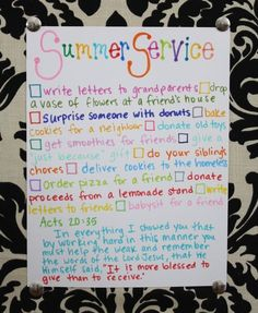 summer service list...create opportunities for the children to serve others with their time off.