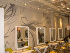 I like the grey/yellow combo of this salon Beauty Salon Interior, Beauty Salon Design, Salon Interior Design, Office Mural, Beauty Life Hacks Videos, Spa, Hair Salons, Murals, Furniture