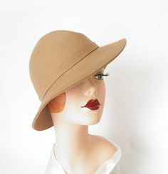 Vintage fedora hat/ 1960s camel wool/ New by TheVintageHatShop, $44.00