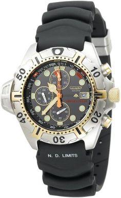 Amazon.com: Citizen Men's BJ2004-08E Eco-Drive Aqualand Two-Tone Black Rubber Strap Dive Watch: Citizen: Watches $330