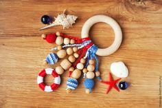 Купить Прорезыватель-кольцо - первая игрушка в морском стиле - подарок слингомаме, подарок на рождение