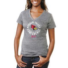 Illinois State Redbirds Women's Conference Stamp Tri-Blend V-Neck T-Shirt - Ash - $24.99