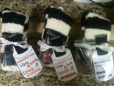 Great gift idea. Warm fuzzy socks, lotion and nail polish. By: Erin Begnaud