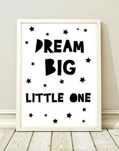 Plakat do pokoju dziecka DREAM BIG LITTLE ONE a3 - black-dot-studio - Plakaty dla dzieci