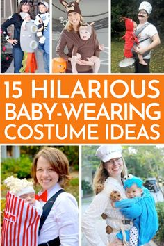 I just had to share these hilarious Baby-Wearing Costume Ideas. If you love wearing your baby then you need one of these baby-wearing Halloween costumes this year! #babywearingcostume #halloweencostumes