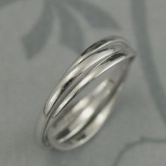 Solid 14K White Gold Rolling Ring--White Gold Interlocking Ring--Three 1.5mm Wide Half Round Bands--Russian Wedding Band--Any Gold Color