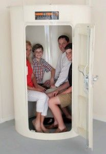 family in tornado safe room