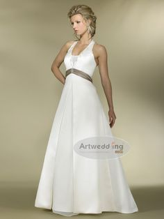 Embroidery Halter Satin A Line Bridal Gown with Brooch and Split Front