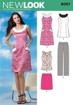 6057 Misses' Sportswear Misses' fit dress, tunic or top and skirt. New Look sewing pattern.