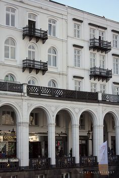 Tiny romantic balconies, and over a Godiva shop! heaven. Hamburg by herz-allerliebst, via Flickr