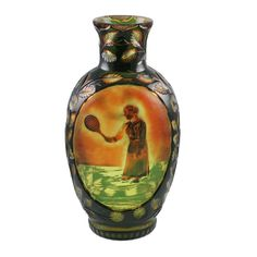 An important Stevens & Williams cameo and intaglio carved vase with a woman playing tennis carved on both sides in cameo and intaglio leaves carved on the sides and neck, ex: Honeybourne Museum c.1890
