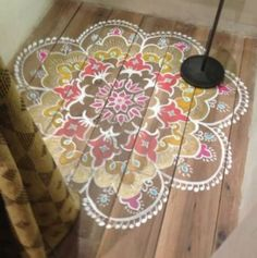 The best DIY projects & DIY ideas and tutorials: sewing, paper craft, DIY. Diy Crafts Ideas stenciled boho design and fun lighting. Love this idea for a coffee table.