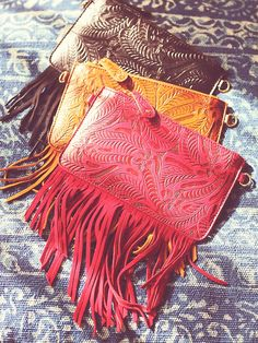 Tooled Wallet at Free People Clothing Boutique Leather Fringe, Leather Tooling, Tooled Leather, Leather Crossbody, Leather Bag, Free People Clothing, Travel Bags For Women, Boho Bags, Leather Gifts
