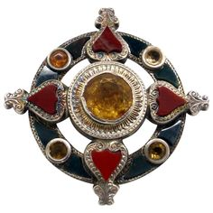 Victorian Sterling Silver-Mounted Scottish Agate Brooch | From a unique collection of vintage brooches at https://www.1stdibs.com/jewelry/brooches/brooches/