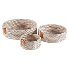 Rattan Zeneth Round Tray (Set of 3) by LS Collections