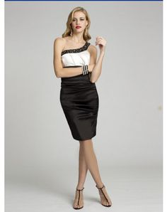 2012 Style Sheath / Column One Shoulder Beading Sleeveless Short / Mini Satin Cocktail Dresses/ Homecoming Dresses (SZ0258666)