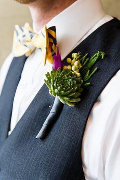 succulent grooms boutonniere  ~  we ❤ this! moncheribridals.com