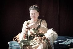 Reenactor with pleated underdress. Gjallarstadir Viking Market, 2013