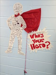 "Interactive Bulletin Board - Who is your hero in social justice? Baldwinsville Christian Acacemy - Interactive Bulletin Board ""Who's Your Hero? Hero Bulletin Board, Interactive Bulletin Boards, Library Themes, Library Displays, Superhero Classroom Theme, Classroom Themes, Super Hero Day, School Themes, School Ideas"