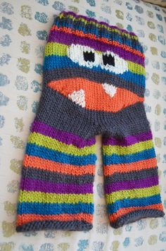 More Monster Pants! DIY Crankypants knitting pattern, bright colors and stripes - cat eyed KP