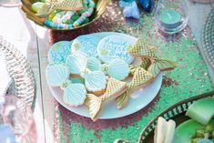 Mermaid Party Feature - Lifes Little Celebration Mermaid Party Decorations, Mermaid Parties, Aqua Color Schemes, Mermaid Cookies, Pretty Mermaids, Mermaid Invitations, Mermaid Coloring, Kids Party Themes, Party Tableware