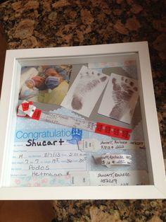 Shadow box baby hospital items. baby hospital bracelets #baby #babyhospital