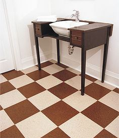 Cork Flooring - SustainableFlooring.com. i want to put the brown and white check floor down to replace our black and white floor.