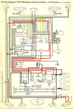 wiring diagram vw beetle sedan and convertible 1961 1965 vw in rh pinterest com