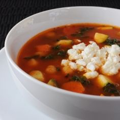 Roasted Tomato and Vegetable Soup with Feta Cheese Crumbles