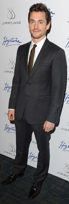 British actor Hugh Dancy wearing Burberry tailoring to a special screening of 'Hysteria' in New York