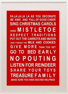 I want this on the front door at our christmas gathering. these are the rules, man. get with it, or go home! no pouty pots at christmas!