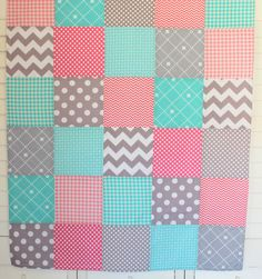 Baby Girl Blanket Fleece Blanket Coral Crib by theredpistachio