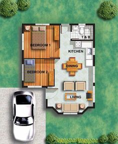Almost perfect tiny home plan - I would prefer a living area that could be used as a guest bedroom, a laundry room, and 2 baths...I like my master bath to myself!  Add a screened porch and a cute patio.
