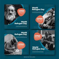 Social Media Poster, Social Media Banner, Social Media Template, Feeds Instagram, Instagram Banner, Instagram Posts, World Refugee Day, Poster Background Design, Instagram Post Template