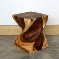 End Table Big Twist natural wood furniture Walnut Finish carved|Kan Thai Decor