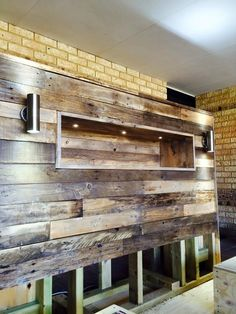 #Pallet #Headboard - DIY Pallet Bed with Headboard and Lights | 101 Pallet Ideas